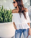Buy Me Roses Smocked Top - White - FINAL SALE