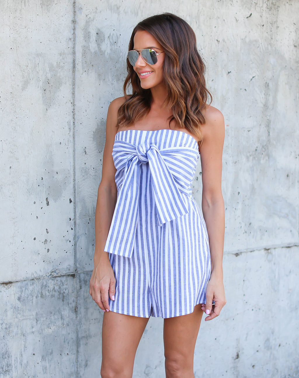 4be436382a46 Detail Product. ← Home - 50% SALE - Lowe Striped Tie Romper ...
