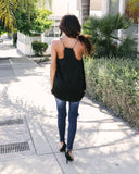 Jasmine Satin Cami Tank - Black - FINAL SALE