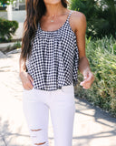 Dolly Cotton Gingham Tank - Navy - FINAL SALE
