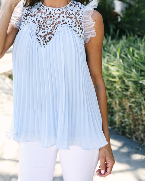 Life Of Luxury Pleated Crochet Top - Blue Bell - FINAL SALE