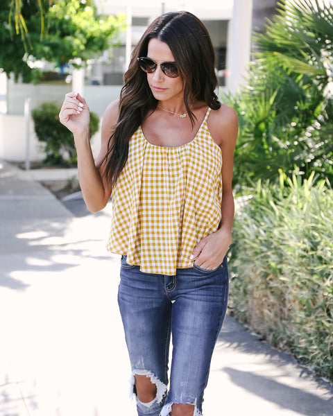 Dolly Cotton Gingham Tank - Mustard