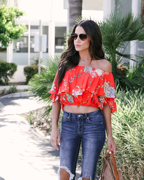 Festive Flowers Off The Shoulder Top - FINAL SALE