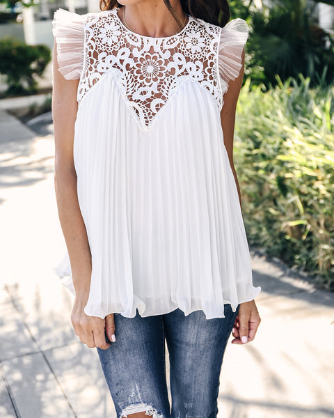 Life Of Luxury Pleated Crochet Top - Off White - FINAL SALE