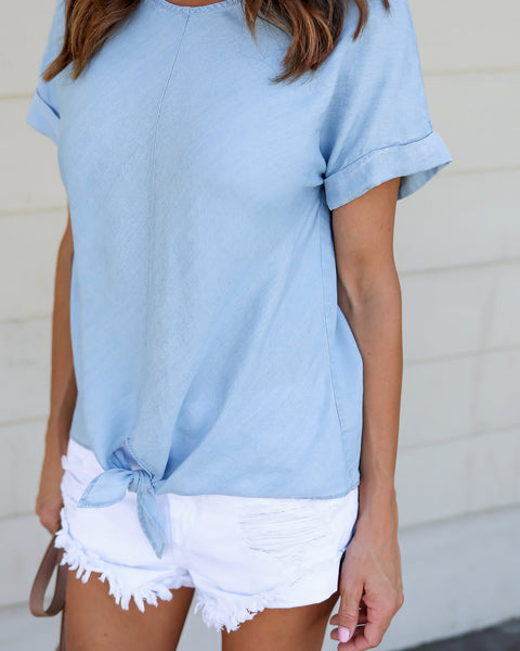 Ivan Knot Tencel Top - Light Blue