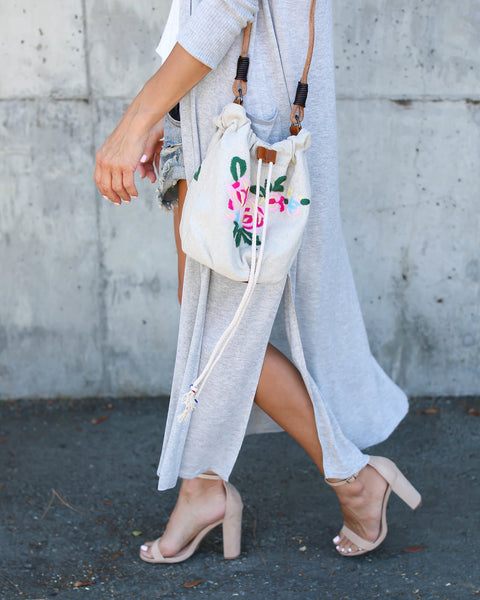 Carlee Embroidered Bucket Bag