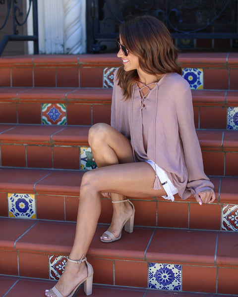 Bamboo Lace Up Blouse - Mauve