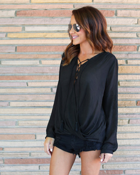 Bamboo Lace Up Blouse - Black