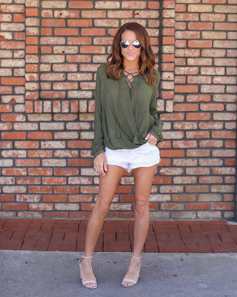 Bamboo Lace Up Blouse - Olive