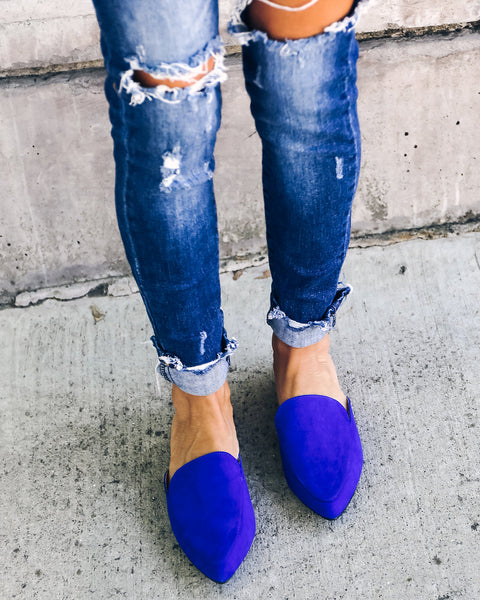 Millana Faux Suede Slide - Royal Blue - FINAL SALE