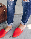 Millana Faux Suede Slide - Red