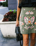 Cambria Linen Embroidered Skirt - Olive - FINAL SALE