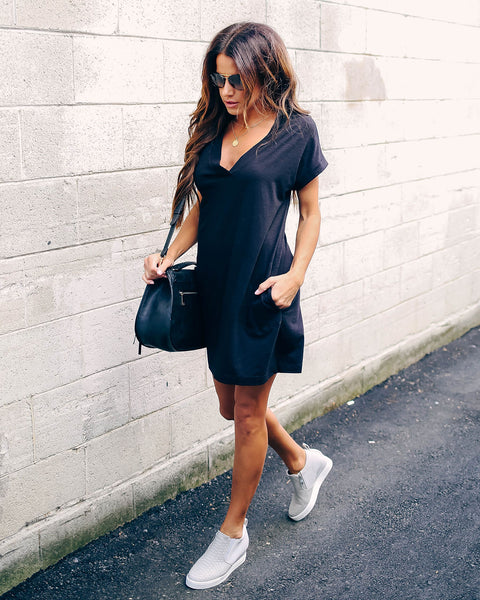 Came To Play Cotton Blend Pocketed T-Shirt Dress - Black - FINAL SALE