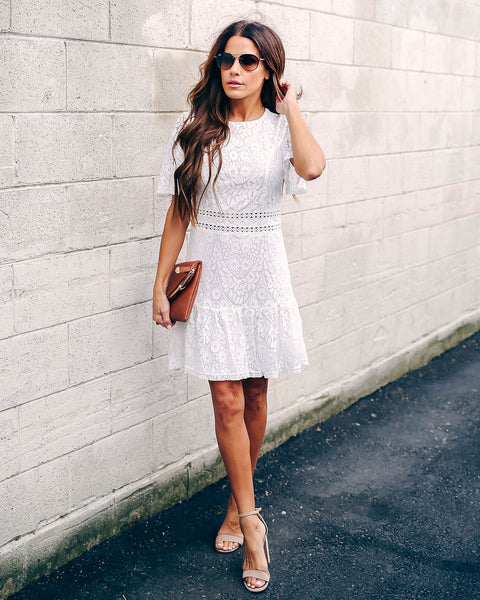 Never Looking Back Lace Dress - Ivory