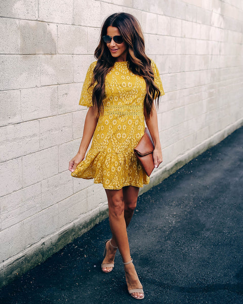 Never Looking Back Lace Dress - Mustard
