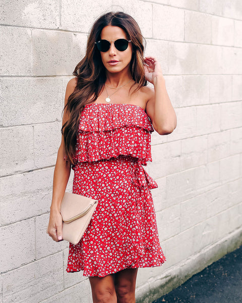 Fire Within Strapless Floral Tie Dress