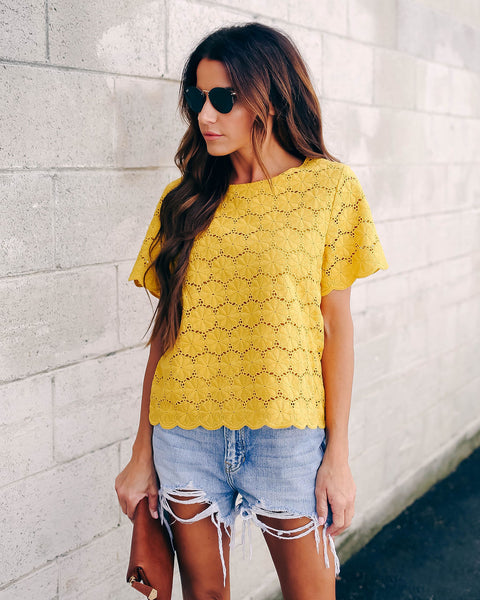 Matilda Floral Embroidered Eyelet Top - Mustard - FINAL SALE