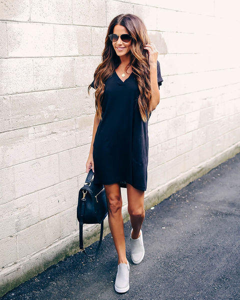 Came To Play Cotton Blend Pocketed T-Shirt Dress - Black