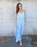 Bayside Pocketed Striped Maxi Dress - Sky Blue
