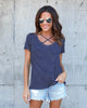 Outside The Lines Striped Criss Cross Tee