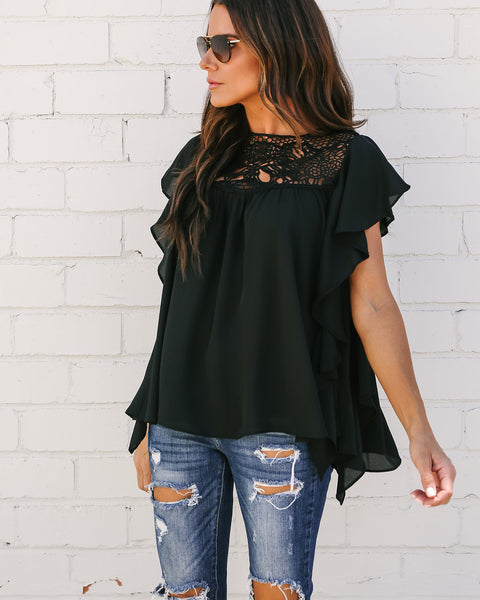 Kennedy Lace Flutter Top - Black