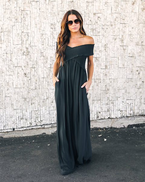 Yarrow Pocketed Off The Shoulder Maxi Dress - Charcoal