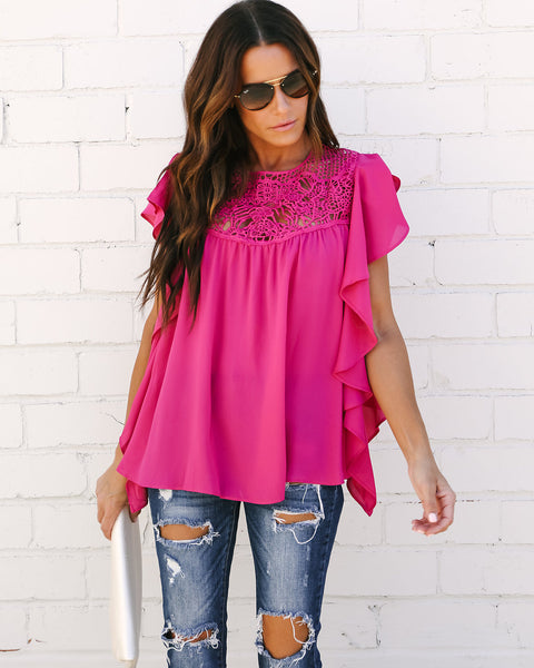 Kennedy Lace Flutter Top - Fuchsia
