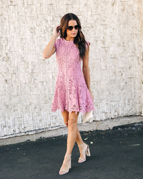 Fergie Lace Dress - Dusty Violet
