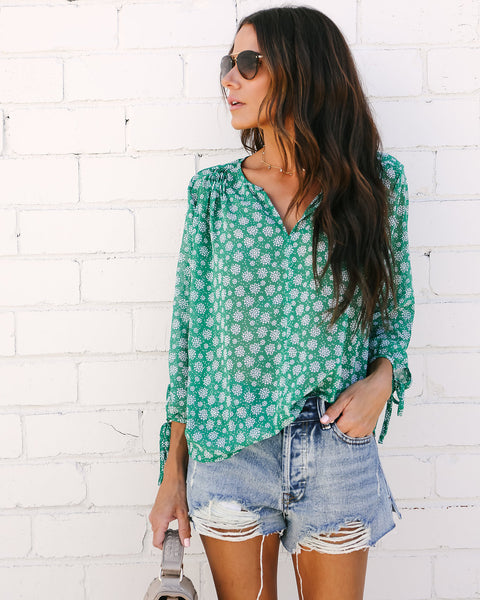 Kissable Cutie Printed Blouse - Green