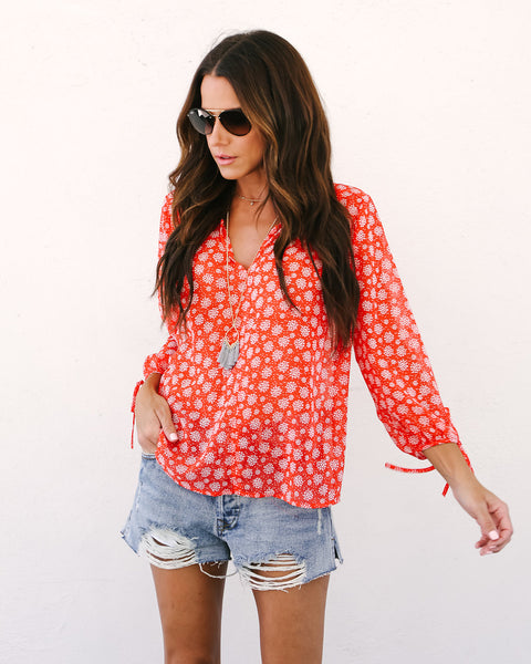 Kissable Cutie Printed Blouse - Coral