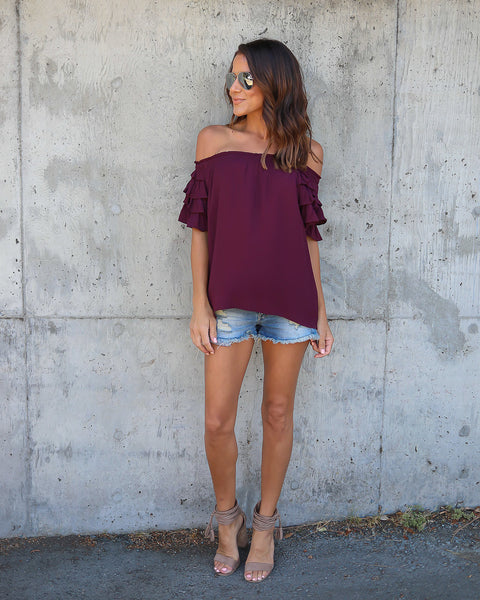 Gialina Off The Shoulder Ruffle Top - Wine