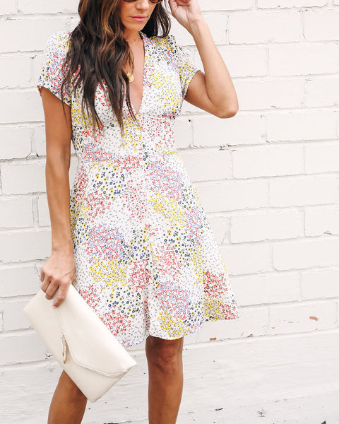 Blooms Galore Button Down Dress - Ivory