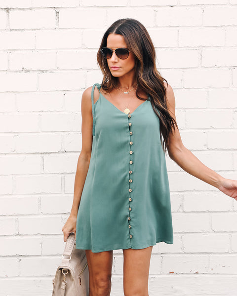 Maddie Button Down Tie Dress - Sage