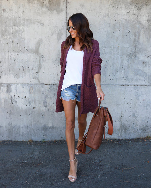 Rochelle Pocketed Cardigan - Marsala