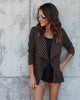 Striped Tasha Moto Jacket - Black/Mocha