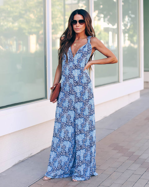 Brushstroke Floral Pocketed Jumpsuit - Blue - FINAL SALE