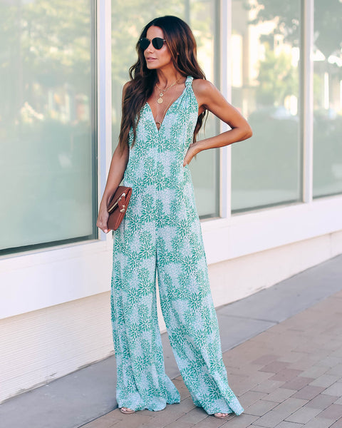 Brushstroke Floral Pocketed Jumpsuit - Green