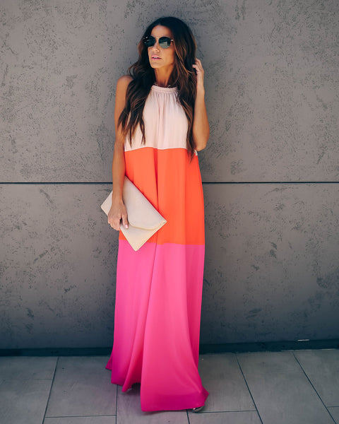 Bright Idea Colorblock Halter Maxi Dress