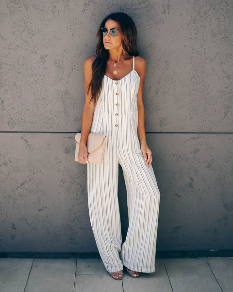 Pelican Striped Button Down Jumpsuit