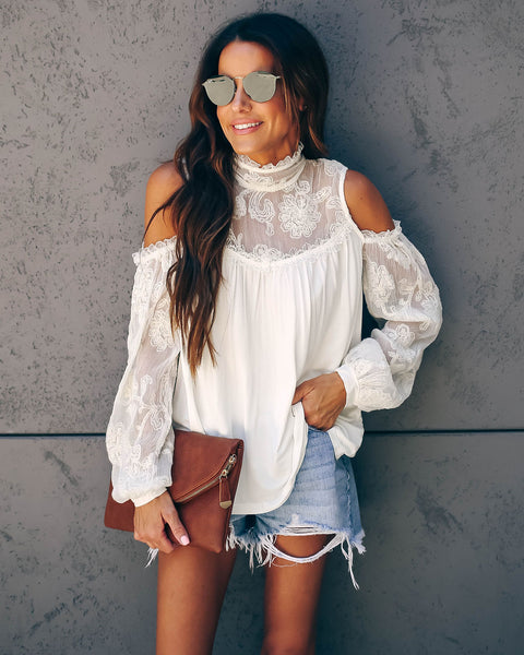 Blaise Cold Shoulder Embroidered Top - Ivory - FINAL SALE