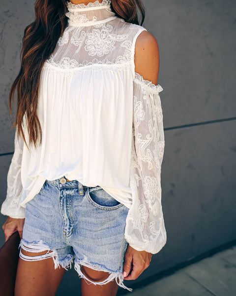 Blaise Cold Shoulder Embroidered Top - Ivory