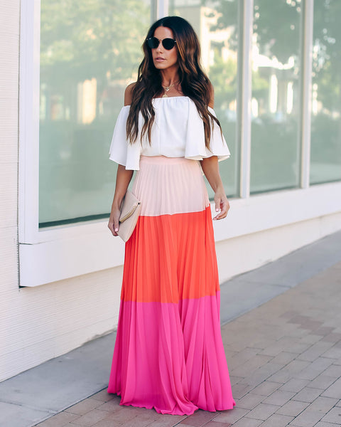 Bright Idea Colorblock Pleated Maxi Skirt