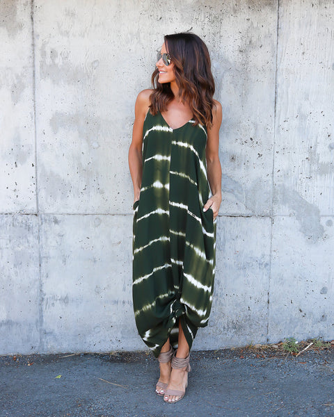 High Water Tie Dye Olivian Maxi Dress - Olive