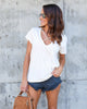 Smitten Cotton Criss Cross Tee - Cream