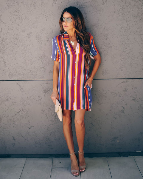 Tubular Striped Pocketed Button Down Dress - FINAL SALE