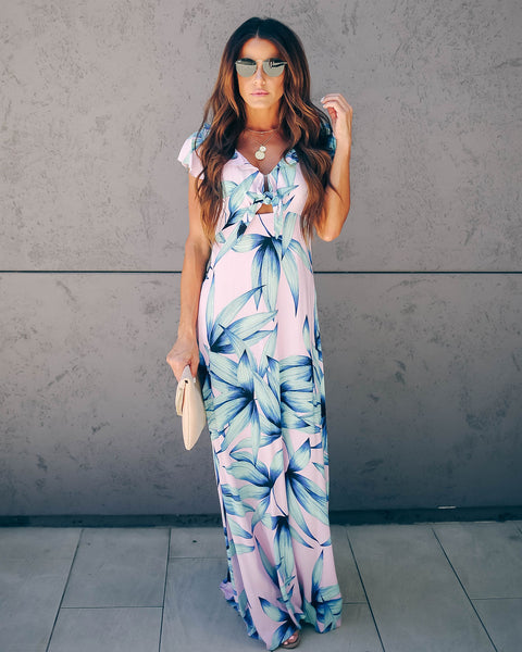 Mercier Palm Print Tie Front Maxi Dress - FINAL SALE