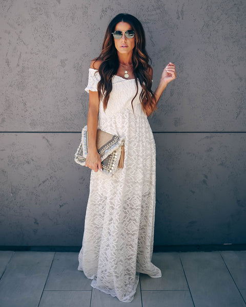 Head Over Heels Smocked Lace Maxi Dress - FINAL SALE