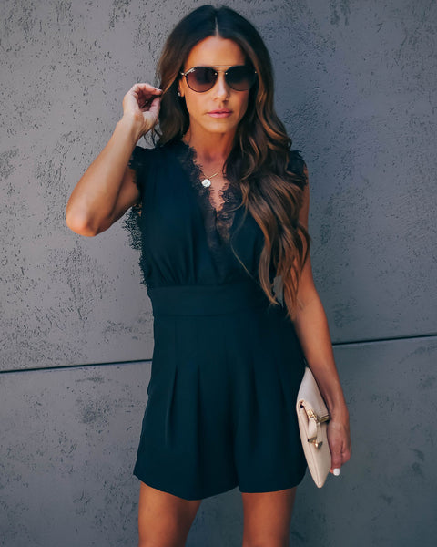 Compatible Pocketed Lace Romper - Black
