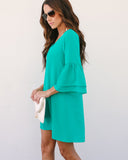 Bellina Bell Sleeve Shift Dress - Jade - FINAL SALE