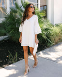 Bellina Bell Sleeve Shift Dress - White - FINAL SALE